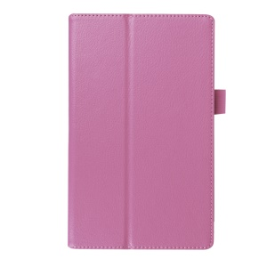Litchi Skin Stand Leather Protector Case for Lenovo Tab3 8 - Pink