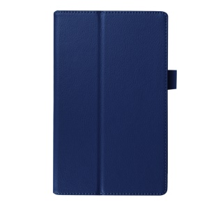 Litchi Texture Stand Leather Cover Case for Lenovo Tab3 8 - Dark Blue