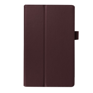 Litchi Texture Stand Leather Flip Cover for Lenovo Tab3 8 - Brown