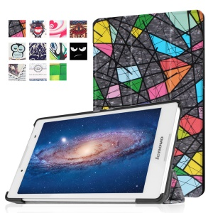 Tri-fold Stand Flip Leather Cover for Lenovo Tab3 8 - Abstract Drawing