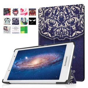 Tri-fold Stand Flip Leather Tablet Case for Lenovo Tab3 8 - Retro Flower