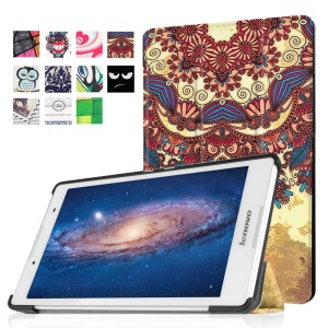 Tri-fold Stand Flip Leather Case for Lenovo Tab3 8 - Luxurious Pattern