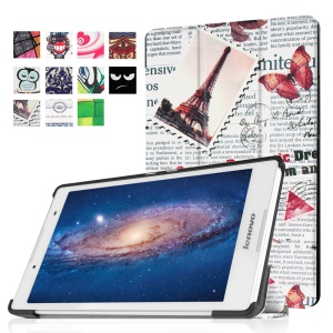 Tri-fold Stand Flip Leather Case for Lenovo Tab3 8 - Newspaper