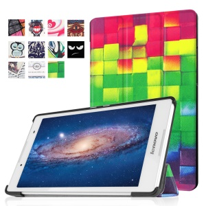 Tri-fold Stand Leather Flip Case for Lenovo Tab3 8 - 3D Effect Checks