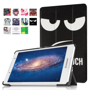 Tri-fold Stand Flip Leather Case for Lenovo Tab3 8 - Angry Face