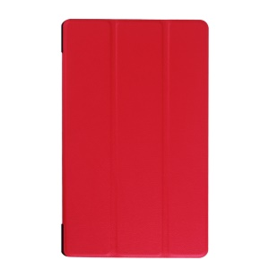Tri-fold Flip Leather Case Cover for Lenovo Tab3 8.0 - Red