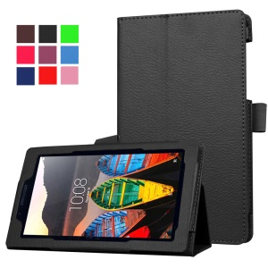 Litchi Texture Stand Leather Case for Lenovo Tab3 7 - Black
