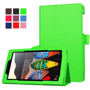 Litchi Texture Folio Stand Leather Case for Lenovo Tab3 7 - Green