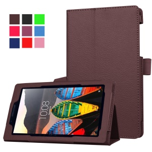 Litchi Texture Protective Leather Cover for Lenovo Tab3 7 - Coffee
