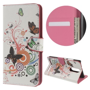 Leather Wallet Protective Case for Lenovo K5 Note - Butterflies and Circles