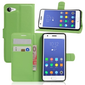 Litchi Skin Wallet Leather Stand Cover for Lenovo ZUK Z2 - Green