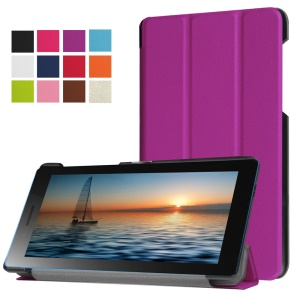 Tri-fold Stand Leather Magnetic Closure Cover for Lenovo Tab3 7.0 - Purple