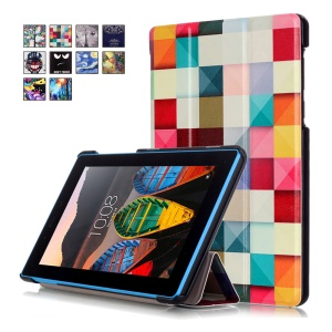 Tri-fold Stand Leather Tablet Cover for Lenovo Tab3 7 730F - 3D Visual Effect Checks