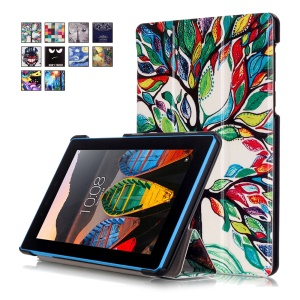 Tri-fold Stand Leather Tablet Cover for Lenovo Tab3 7 730F - Flourishing Tree