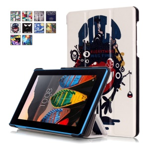 Tri-fold Stand Leather Tablet Cover for Lenovo Tab3 7 730F - Big Mouth Monster