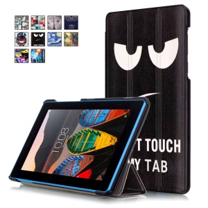 Tri-fold Stand Leather Tablet Cover for Lenovo Tab3 7 730F - Warning Face