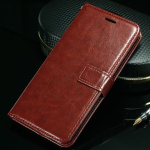 Crazy Horse Flip Leather Wallet Stand Cover for Lenovo Sisley S90 - Brown
