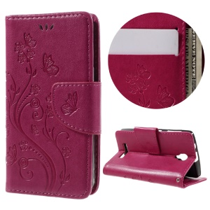 For Lenovo A1000 Imprint Flower Butterfly Leather Stand Case - Rose
