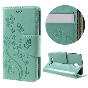 Imprint Flower Butterfly Leather Phone Case for Lenovo A1000 - Cyan