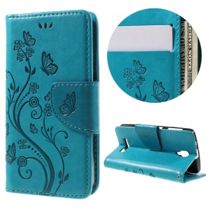 For Lenovo A1000 Imprint Flower Butterfly Flip Stand Leather Case - Blue