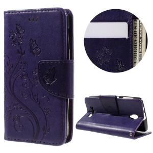For Lenovo A1000 Imprint Flower Butterfly Magnetic Leather Cover - Purple