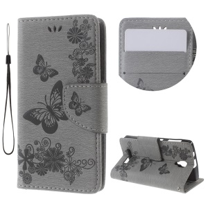 Imprinted Butterfly Leather Wallet Stand Case for Lenovo A1000 - Grey