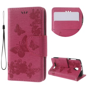 Imprinted Butterfly Leather Wallet Cover for Lenovo A1000 - Rose
