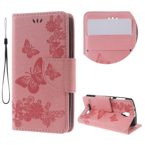 Imprinted Butterfly Leather Wallet Shell for Lenovo A1000 - Pink