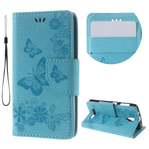 Imprinted Butterfly Leather Card Holder Case for Lenovo A1000 - Blue