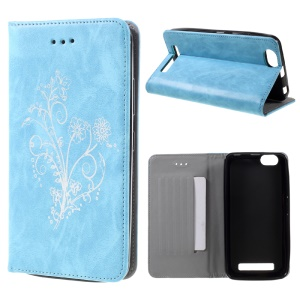 Retro Style Flower Leather Card Holder Case for Lenovo Vibe C A2020 - Blue