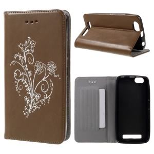 Retro Style Flower Leather Phone Cover for Lenovo Vibe C A2020 - Brown