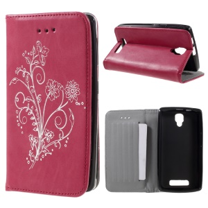 Retro Style Flower Stand Leather Cover for Lenovo A1000 - Red
