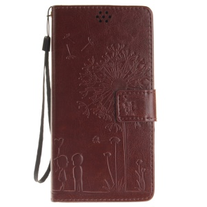 Dandelion and Lovers Folio Leather Protective Case for Lenovo A7000 / A7000 Plus/ K3 Note - Brown