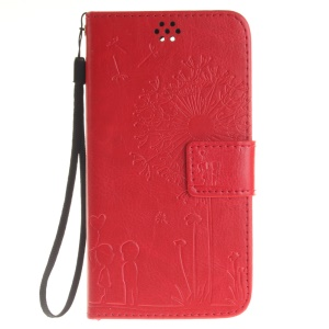 Dandelion Lover Leather Wallet Cover for Lenovo Vibe P1m - Red
