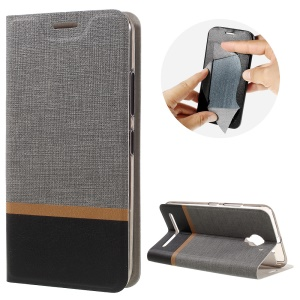 Contrast Color Leather Cover Stand Card Holder for Lenovo Vibe C2 - Grey
