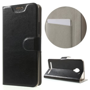 Crazy Horse Stand Leather Case for Lenovo Vibe C2 Built-in Steel Sheet - Black