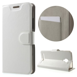 Crazy Horse Stand Leather Cover for Lenovo Vibe C2 Built-in Steel Sheet - White