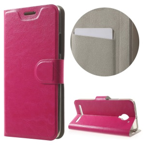 Crazy Horse Stand Leather Cover Case for Lenovo Vibe C2 Built-in Steel Sheet - Rose
