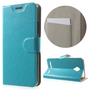 Crazy Horse Stand Leather Phone Case for Lenovo Vibe C2 Built-in Steel Sheet - Blue