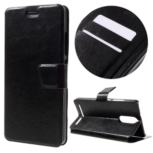 Crazy Horse Leather Stand Case for Lenovo K5 Note - Black