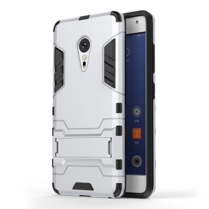 PC TPU Hybrid Phone Back Cover for Lenovo ZUK Z2 Pro with Kickstand - Silver