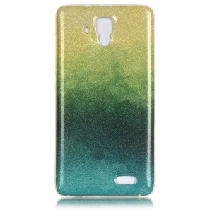 For Lenovo A536 Gradient Flash Powder IMD Soft TPU Cover - Yellow / Green