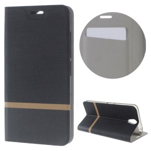 Cross Texture Stand Leather Card Holder Case for Lenovo Vibe S1 Lite - Black