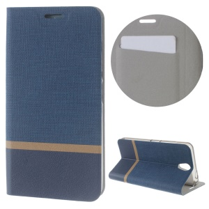 Cross Texture Stand Leather Protector Case for Lenovo Vibe S1 Lite - Dark Blue