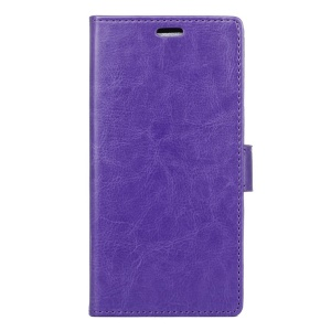Crazy Horse Leather Phone Case for Lenovo Vibe C2 with Card Holder - Purple
