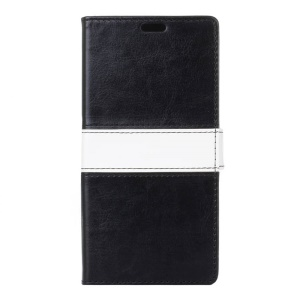 Contrast Color Wallet Leather Stand Case for Lenovo A Plus A1010 - Black
