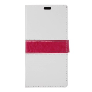 Contrast Color Wallet Leather Stand Cover for Lenovo A Plus A1010 - White