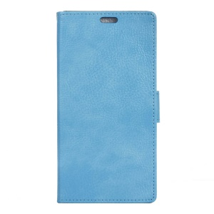 Litchi Skin Leather Phone Cover with Stand for Lenovo Vibe C2 - Baby Blue