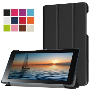 Tri-fold PU Leather Stand Case for Lenovo Tab3 7.0 730M - Black
