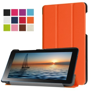 Tri-fold Stand Leather Tablet Case for Lenovo Tab3 7.0 730M - Orange